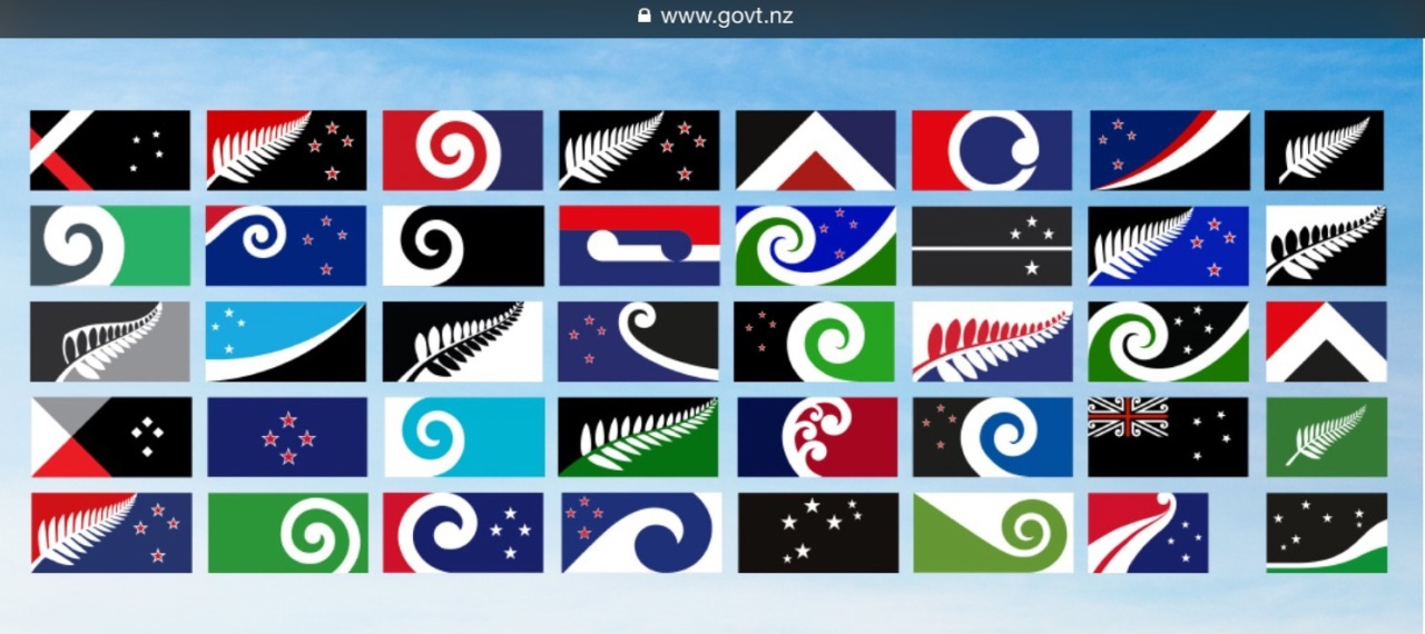 Screen capture of prospective New Zealand flags.