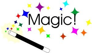 Free Stock Photo: Illustration of a magic wand with stars and text.