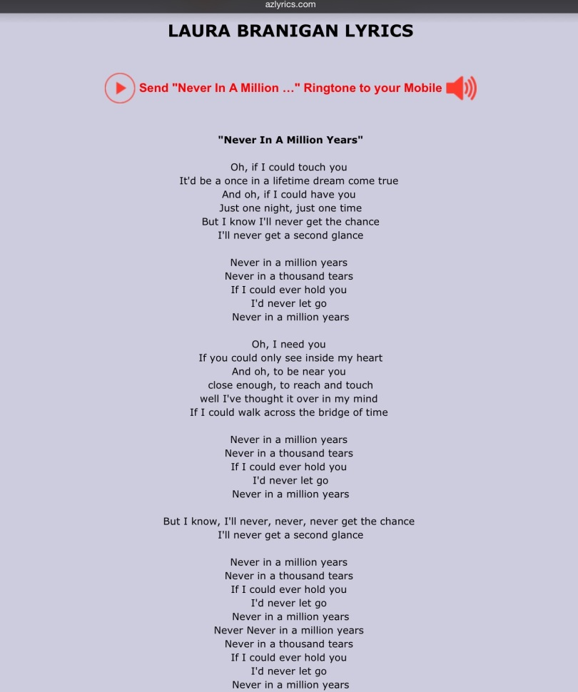 Screen capture: LAURA BRANIGAN LYRICS - Never In A Million Years.