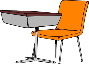 Free Stock Photo: Illustration of a student desk and chair.