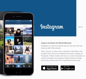Screen capture of Instagram home page.