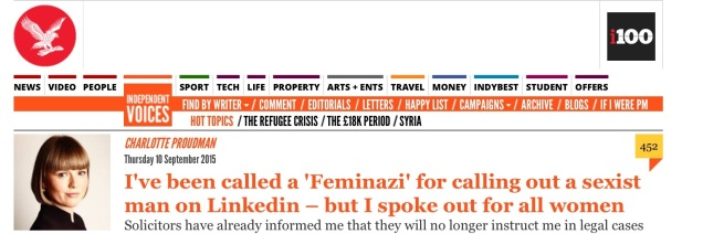 Screen capture of the Independent.