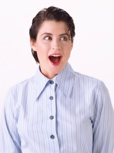 Free Stock Photo: A beautiful woman acting surprised.