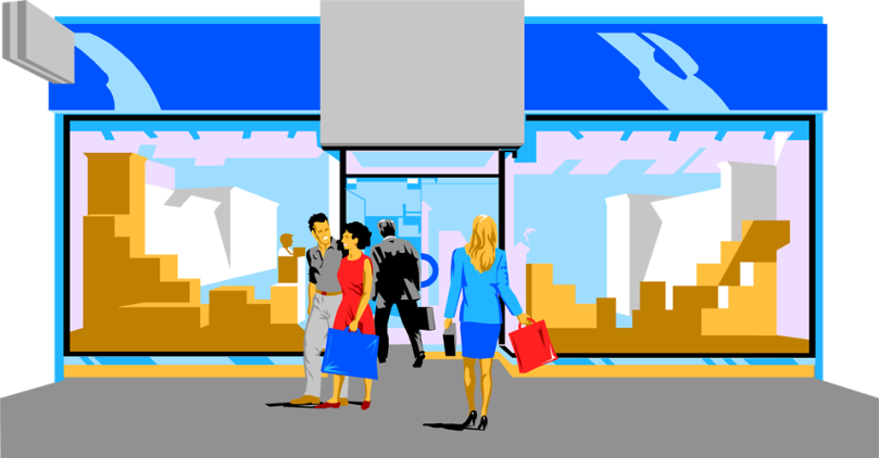 Free Stock Photo: Illustration of people in front of a store.
