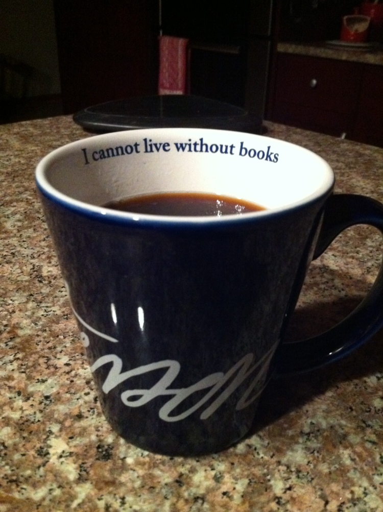 A morning cup in my Monticello-bought Thomas Jefferson mug. [Photo by me, 2015.]