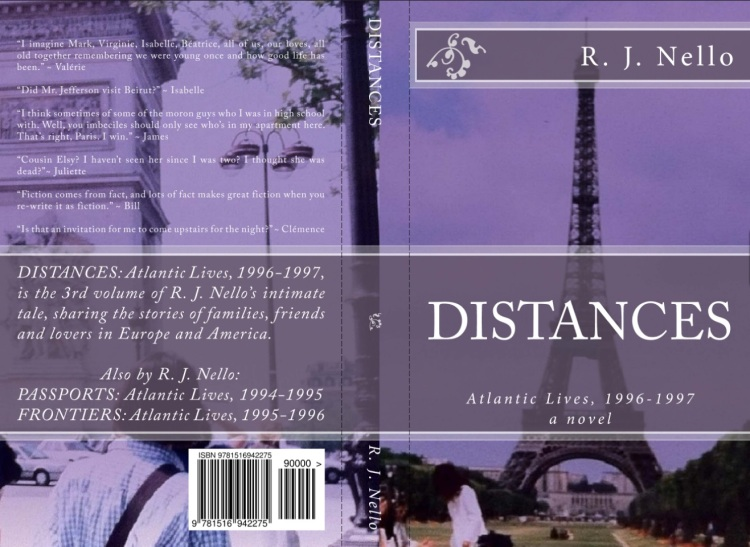 """The back and front covers for """"Distances"""" - the print version."""