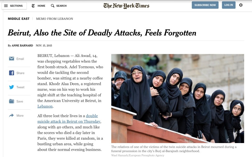 Screen capture of the New York Times.