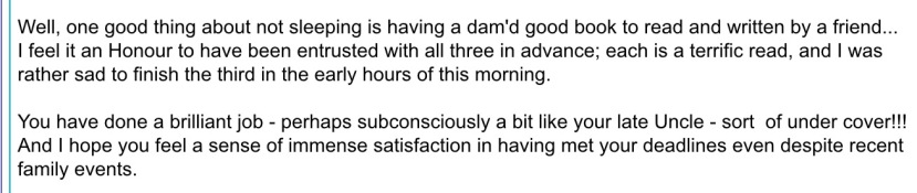 Screen capture of part of a personal email to me. Click to expand.
