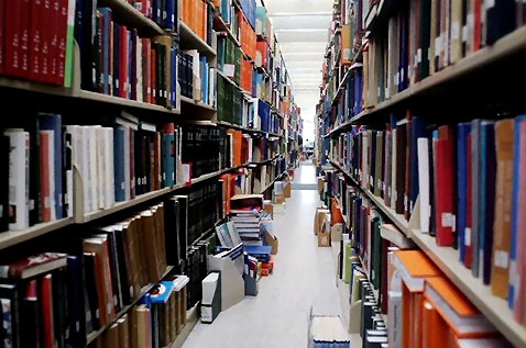 Free Stock Photo: An aisle of library books.