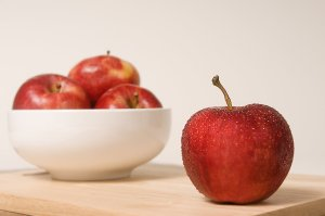 Free Stock Photo: A bowl of Rome Beauty apples.