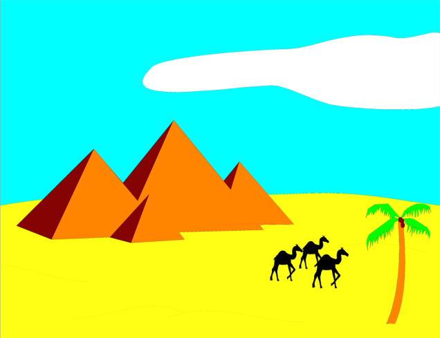 Free Stock Photo: Illustration of pyramids in the desert with camels.