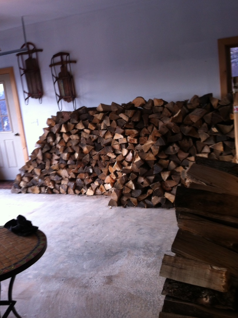 Firewood stacked. [Photo by me, 2015.]