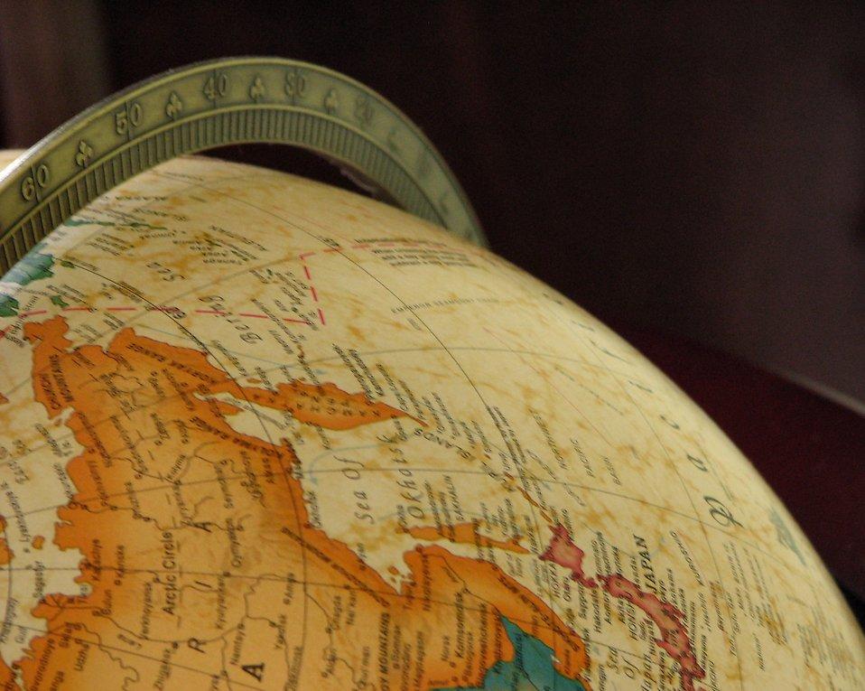 Free Stock Photo: Closeup of a map on a globe.