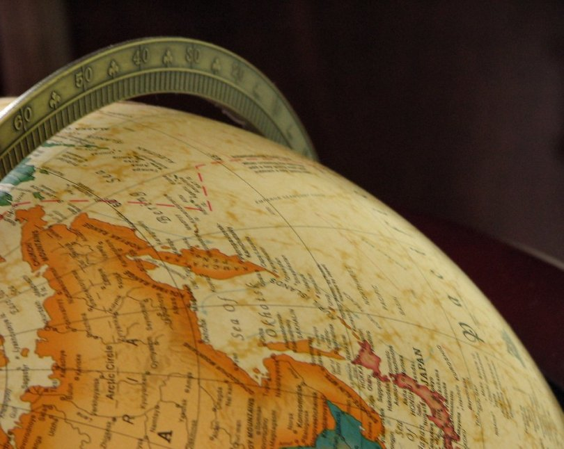 Free Stock Photo: Closeup of a map on a globe.