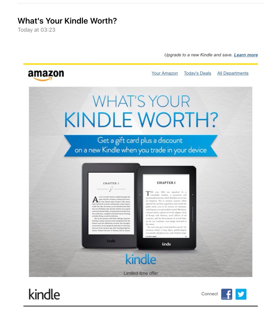 Screen capture of Amazon email.