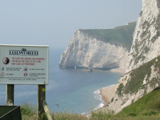 Lulworth Cove cliffs, Dorset coast, England. [Photo by me, 2006.]