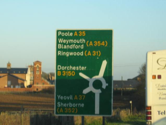 Approaching a Dorset roundabout. [[Photo by me - I was NOT driving - 2008.]