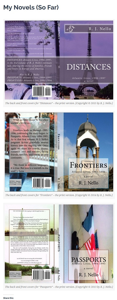 """Screen Capture of """"My Novels (So Far)"""" page."""