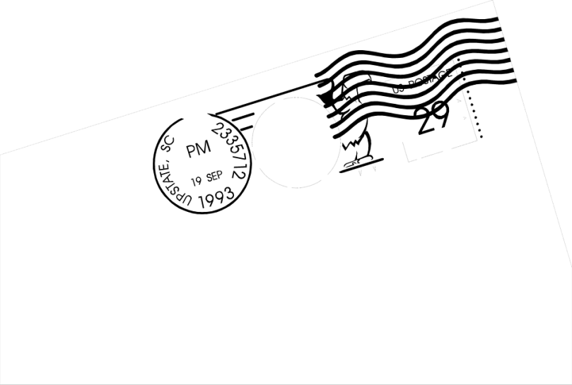 Free Stock Photo: Illustration of a postmarked stamp.