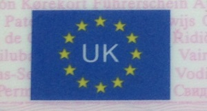 Corner of my UK driving licence. [Photo by me, 2016.]