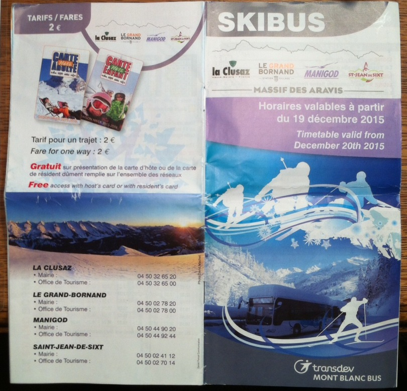 The La Clusaz ski bus brochure covers. [Photo by me, 2016.]