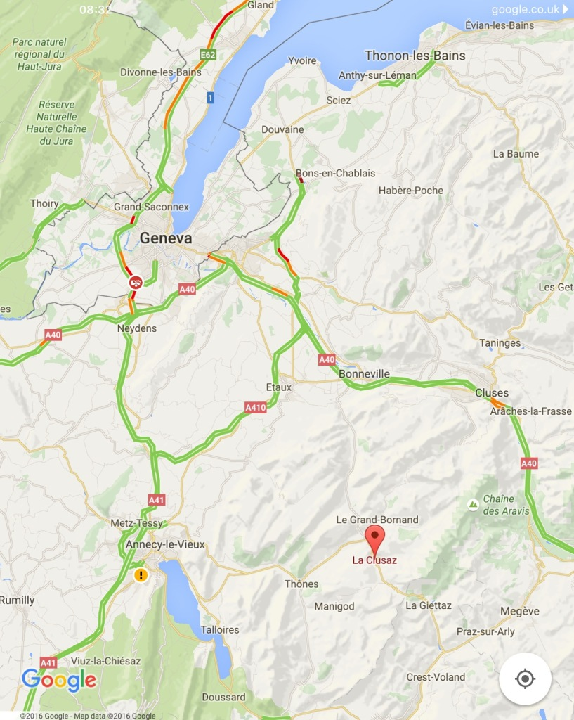 Screen capture: La Clusaz to Geneva.