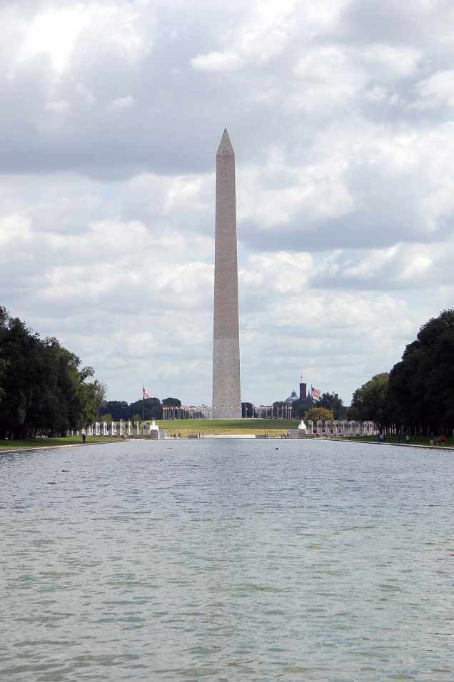 The Washington Monument viewed from the Lincoln Memorial Reflecting Pool in Washington, DC. [Public domain.]