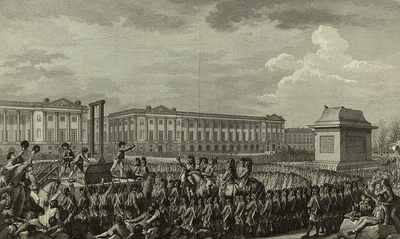 Execution of King Louis XVI, 1793. [Engraving. 1794. Public Domain. Wikipedia.]