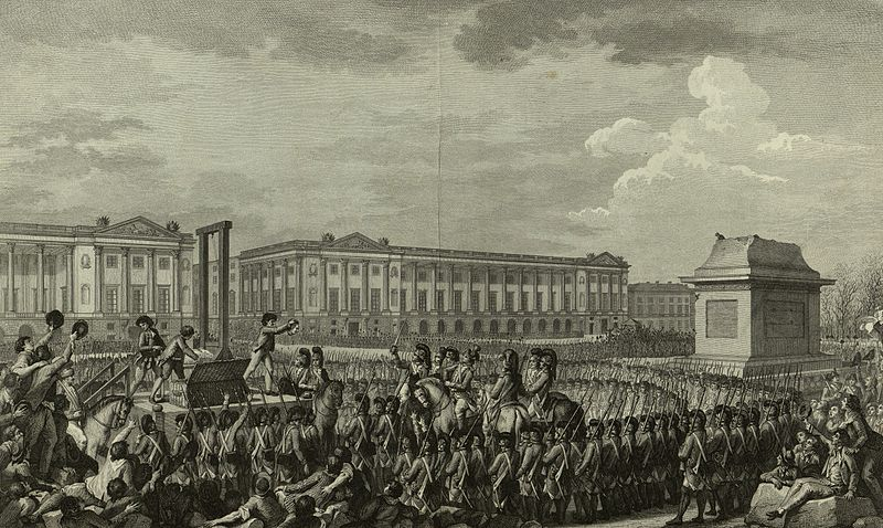 Execution of King Louis XVI, 1793. [Engraving. 1794. Public Domain. Wikipedia.]