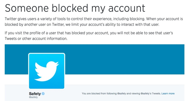 """Screen capture of Twitter """"Support"""" page."""