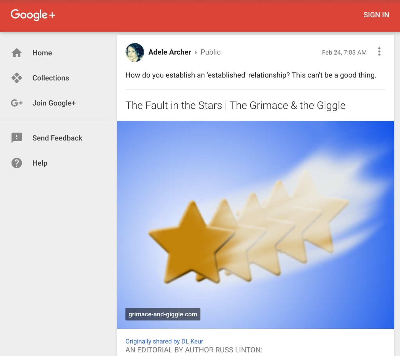 Screen capture of Google+.