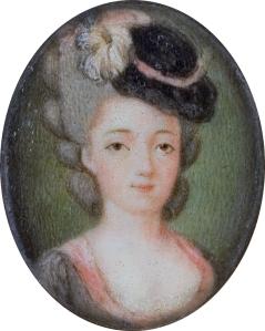 Marie Adrienne Francoise de Noailles, Marquise de La Fayette (1759-1807). [Contemporary miniature. Artist Unknown. Wikipedia. Public Domain.]