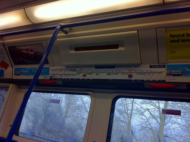 Inside a tube train. [Photo by me, 2016.]