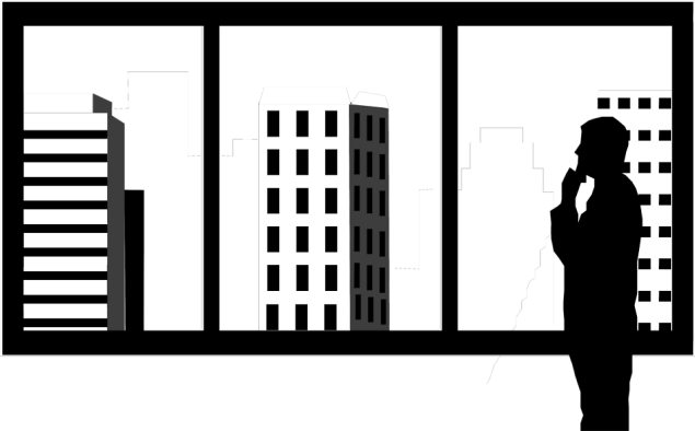 Free Stock Photo: Illustration of a silhouette of a man looking out at skyscrapers.