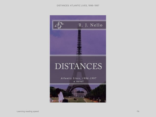 "The ""front cover"" of ""Distances,"" on iPad for Kindle."