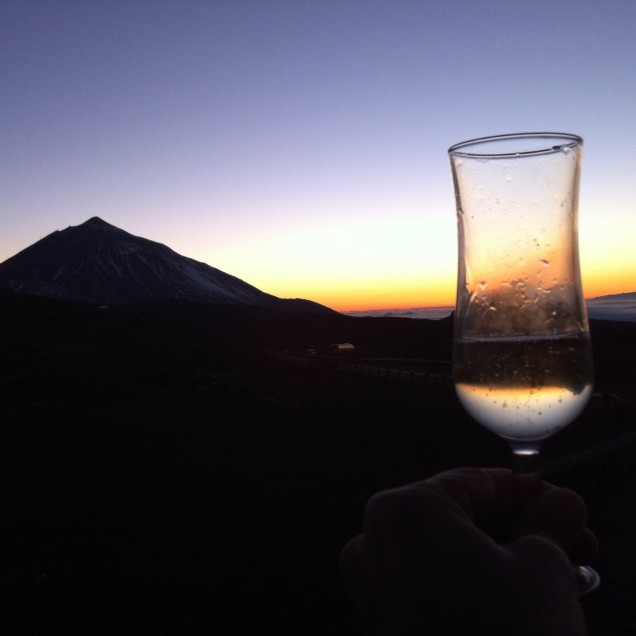 Raising a glass, just after the sun vanished. [Photo by me, 2016.]