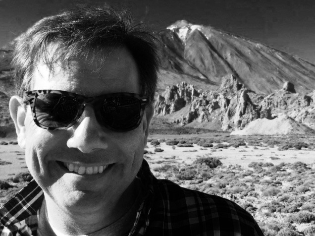 Me, in front of Teide - black and white version. [Photo by Mrs. Nello, 2016.]