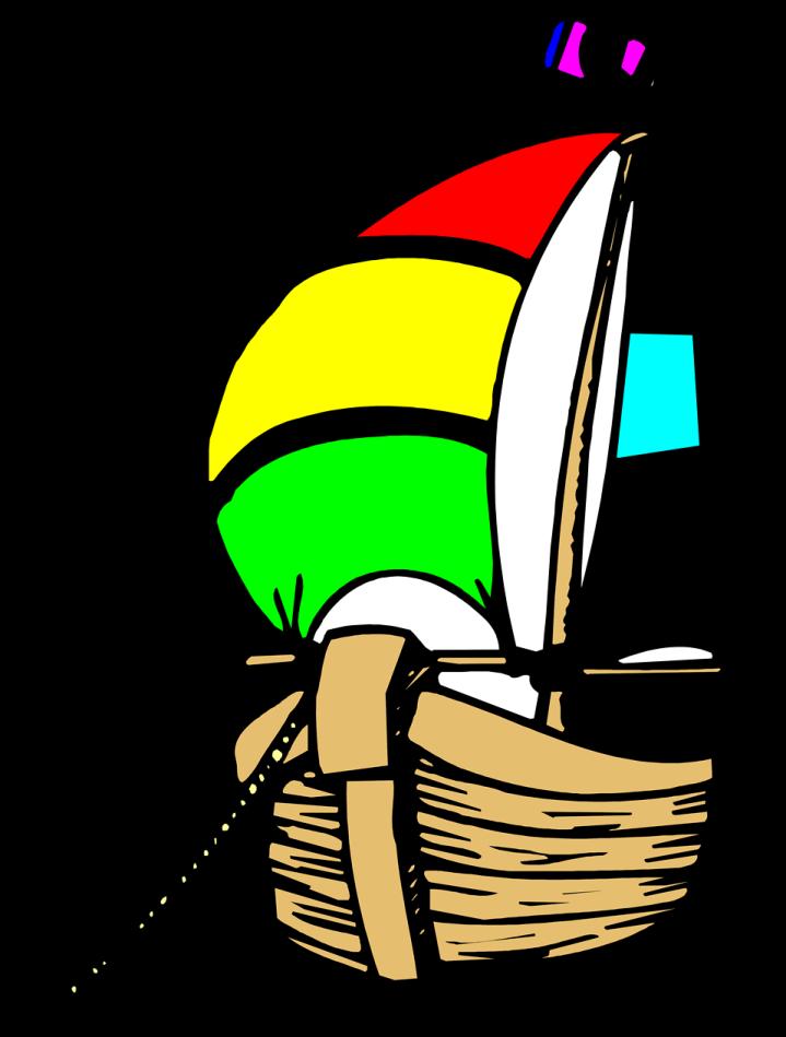 Free Stock Photo: Illustration of an anchored sailboat.