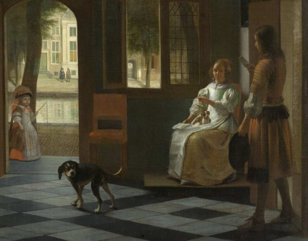 "Rijksmuseum Amsterdam: ""Man hands a letter to a woman in a hall"" by Pieter de Hooch, 1670."