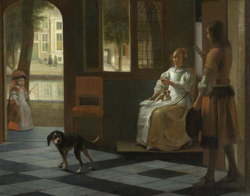 """Rijksmuseum Amsterdam: """"Man hands a letter to a woman in a hall"""" by Pieter de Hooch, 1670."""