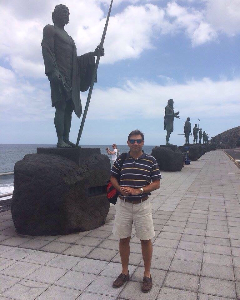 Me, next the the Guanche kings. Tenerife, Canary Islands, Spain. [Photo by Mrs. Nello, 2016.]