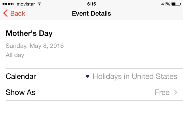 Screen capture of my iPhone calendar this morning.