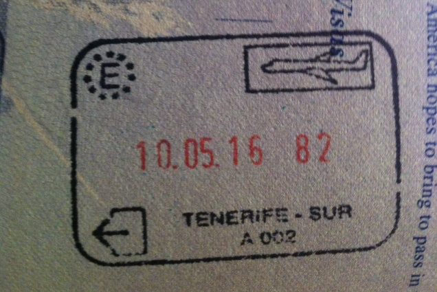 Out stamp. Tenerife, Canary Islands, Spain.