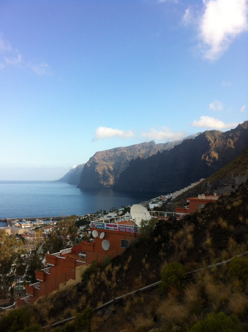 View of Los Gigantes and its harbor, and cliffs beyond. Tenerife, Canary Islands, Spain. [Photo by me, 2016.]