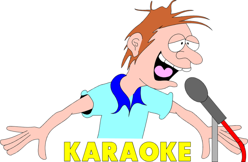 Free Stock Photo: Illustration of a drunk singer with karaoke text.