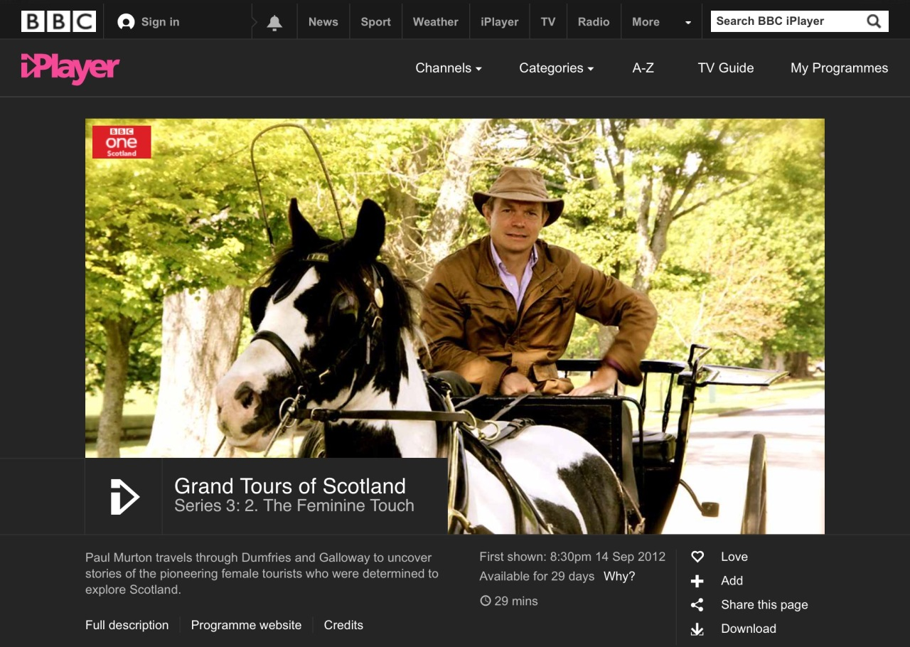 """Screen capture of BBC iPlayer """"Grand Tours of Scotland"""" page."""