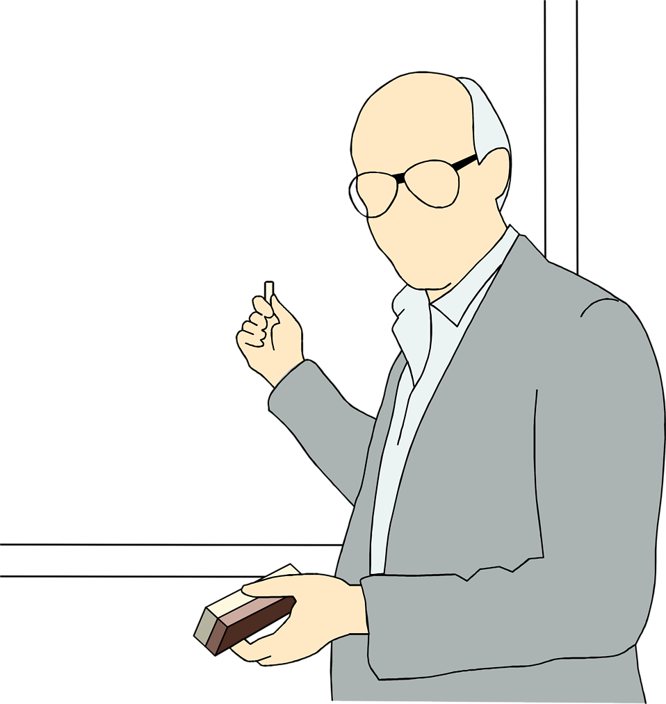 Free Stock Photo: Illustration of a school teacher at a black board.
