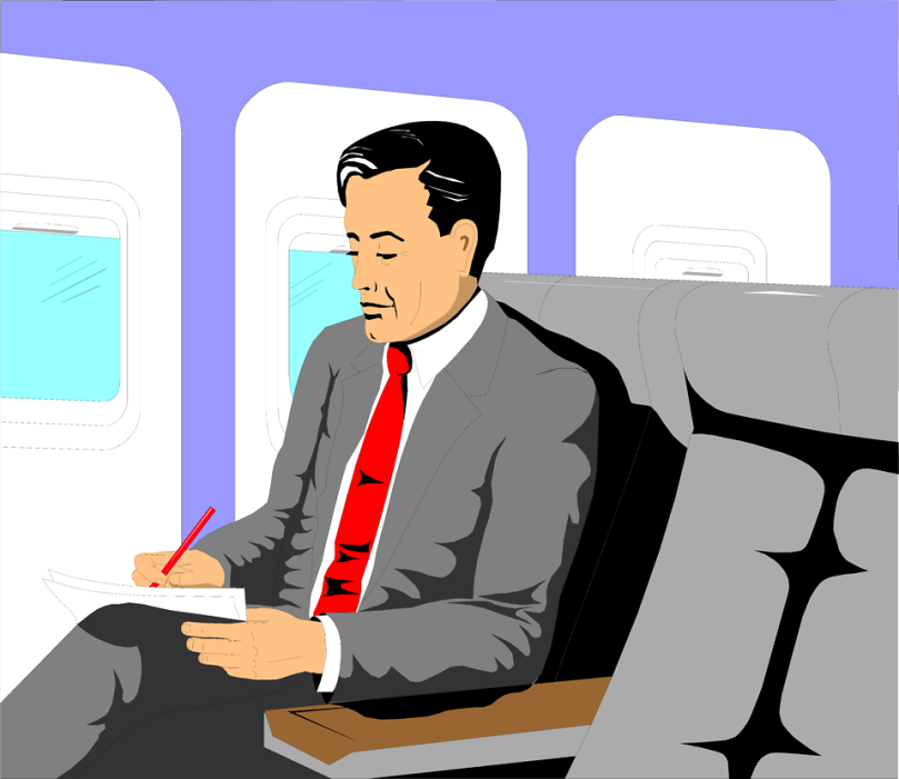 Free Stock Photo: Illustration of a business man sitting in an airplane.