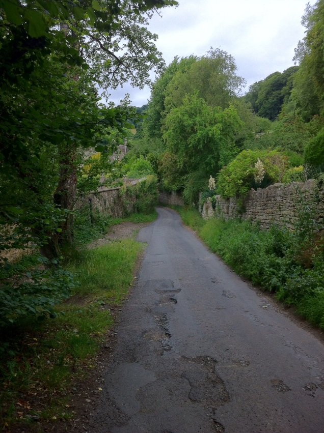Walking a country lane (two way auto traffic), Wiltshire, England. [Photo by me, 2015.]