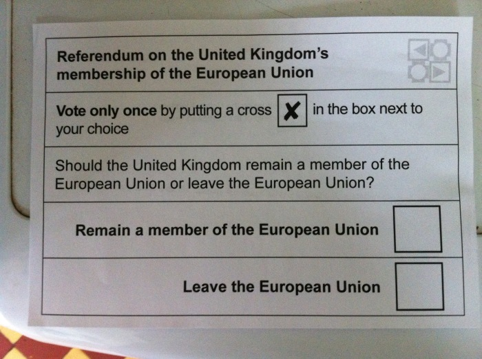 """Official ballot paper, pre-ticked. The paper has now been marked and mailed. """"Our"""" Mrs. Nello's referendum is finished. [Photo by me, 2016.]"""